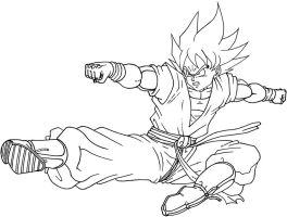 -lineart- Son Goku kick by DBZwarrior