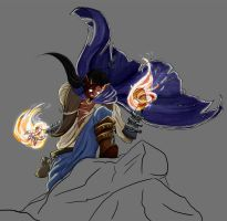 Felsic the Pyromancer, WiP by tieskevo