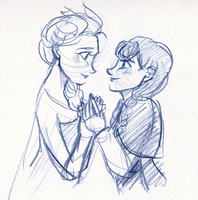 Anna and Elsa by maybelletea
