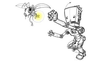 Robot Chasing the bug by Pencilbags