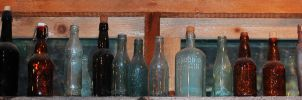 old glass bottles by MLeighS