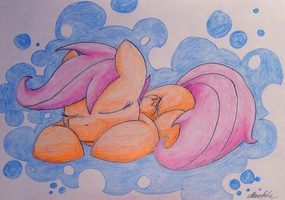 Sleepy Scootaloo by PoniMichla