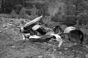 Old wreck Black and White by micro5797