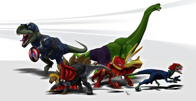 Dino-Avengers by DigitalGreen