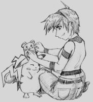 PKMN: Kasumi playing w Azurill by pedal
