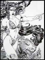 Amazone with Monster (1994) by SilvioGiacomini