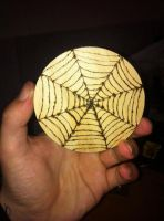Pyrography spiders web by Dezz101