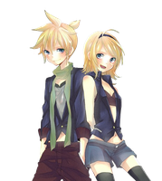 Kagamine Twins Render by zombieusagi