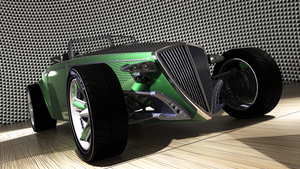 Green Hot Rod in mesh booth by deepesthought