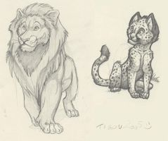 Lion and Cheetah by tigon