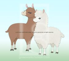 Alpaca and Llama from Polar Bear Cafe by junosama