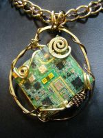 circuit and brass necklace by BacktoEarthCreations
