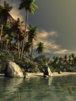 Tropical Beach I by gerberc