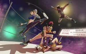 Honey Rose vs. the Amazing Trio by Pehesse