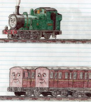 Schoolbook Sketches- Oliver, Annie and Clarabel by 01Salty