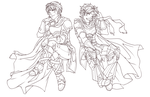 Marth And Roy Line Art by xmoonlitxdreamx