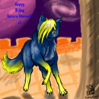 Happy B-day Ancarie-bluewolf :3 by greenyswolf