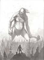 Thor vs A Giant-ink wash by bear65