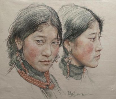 Portrait of twin girls in Tibet by william690c