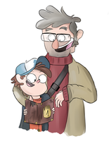 Uncle Ford and Dipper by Whitexkitty
