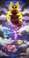 Giratina and the Lake Guardians by zazaKUN011