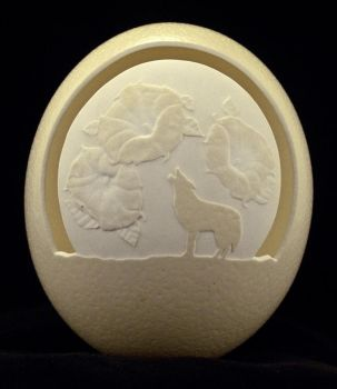 Carved Ostrich egg - 'Moonflower' by eggdoodler