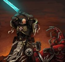 Black Templar vs Word Bearer by FonteArt