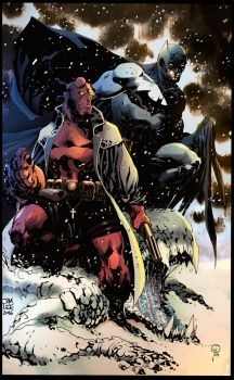 Batman and Hellboy by puzzlepalette
