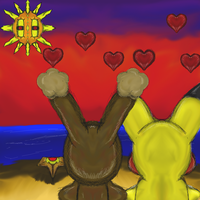 Pikachu and Buneary sunset valentine 2015 by dragonfire53511