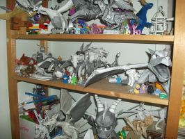 my shelf of papercrafts by legendarydragonstar