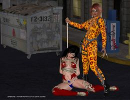 Thunder Woman knocked out by Lethal Leopard by 3Dheroines
