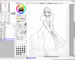 WIP sketch- Saber by DreamerWhit