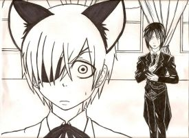 Ciel kitty and Sebby by animeinkblot