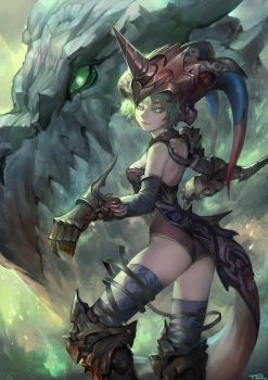 dragon and girl by TEnmoom