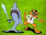 Shark and ScienceCat by v-Germs-v