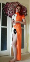 orange and white with umbrella by Latexengel
