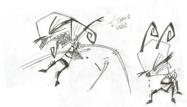Tam in action sketches by Invader-Tam
