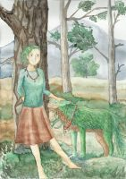 Forest girl and forest wolf by Saliona93