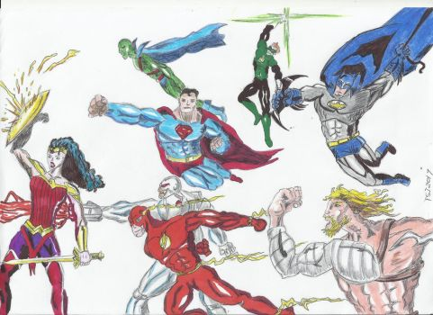 Justice League Colored by ShadowManGMR