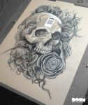 Skulls and Roses Work #1 by DoomCMYK