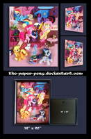 Shadowbox:  16x20 Mane 6 Library Party by The-Paper-Pony