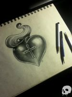 Sacred Heart Tattoo Design by P-O-R-K-Y