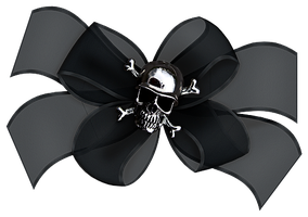 Black Bow with Skull by Paw-Prints-Designs
