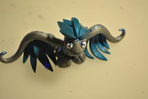 Blue and Silver Feathered Dragon by SkyeDragons