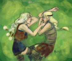 girls on the grass by motega