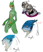 Mass Effect OC doodles by yellowdrakex