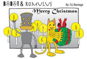 Robot and Romulus Christmas comic strip by felluponthieves