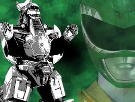 WP - MMPR Green + Dragonzord by morgan-lamia