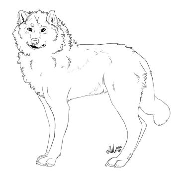 Wolf Lineart by Ash-The-Mutt