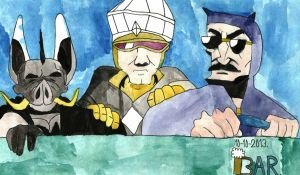 Axe Cop and company on a night mission by BARproductions